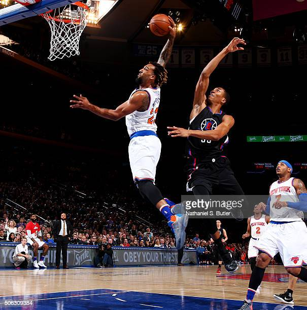 Derrick Williams of the New York Knicks goes for the dunk against Wesley Johnson of the Los Angeles Clippers during the game on January 22 2016 at...