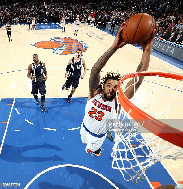 Derrick Williams of the New York Knicks goes for the dunk against the Oklahoma City Thunder during the game on January 26 2016 at Madison Square...