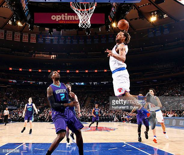 Derrick Williams of the New York Knicks goes to the basket against the Charlotte Hornets on April 6 2016 at Madison Square Garden in New York City...