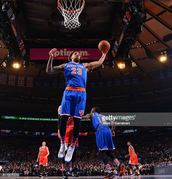 Derrick Williams of the New York Knicks grabs the rebound against the Chicago Bulls at Madison Square Garden on March 24 2015 in New YorkNew York...