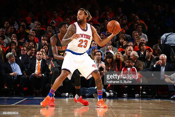 Derrick Williams of the New York Knicks handles the ball against the Atlanta Hawks on October 29 2015 at Madison Square Garden in New York City NOTE...