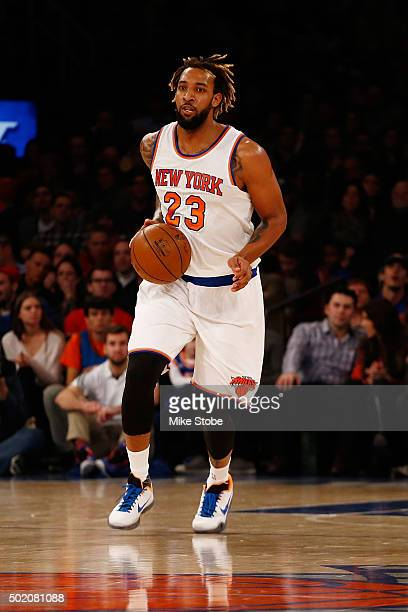 Derrick Williams of the New York Knicks in action against the Chicago Bulls at Madison Square Garden on December 19 2015 in New York City Knicks...