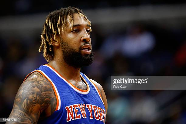 Derrick Williams of the New York Knicks looks against the Washington Wizards in the first half at Verizon Center on March 19 2016 in Washington DC...