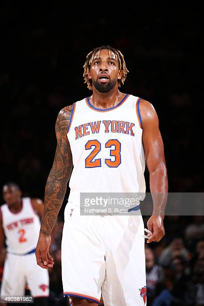 Derrick Williams of the New York Knicks looks on against the Philadelphia 76ers on October 12 2015 at Madison Square Garden in New York City NOTE TO...