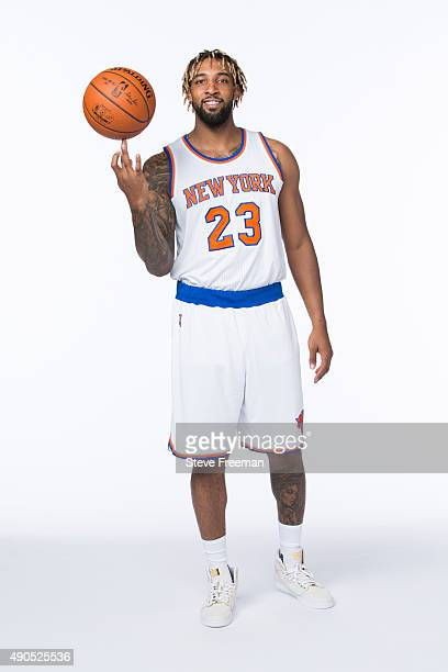 Derrick Williams of the New York Knicks poses for a portrait at Media Day at the MSG Training Facility in Greenburgh New York on September 28 2015...