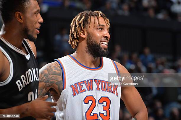 Derrick Williams of the New York Knicks smiles for the camera against the Brooklyn Nets on January 13 2015 at Barclays Center in Brooklyn New York...