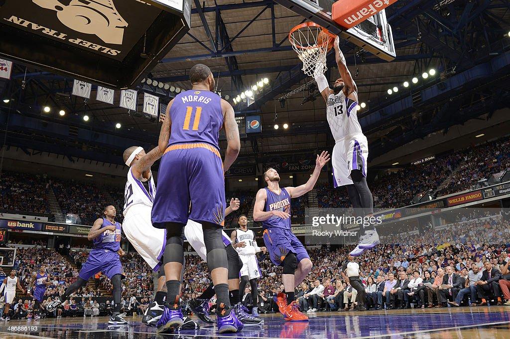 Derrick Williams #13 of the Sacramento Kings dunks against the Phoenix Suns on April16, 2014 at Sleep Train Arena in Sacramento, California.