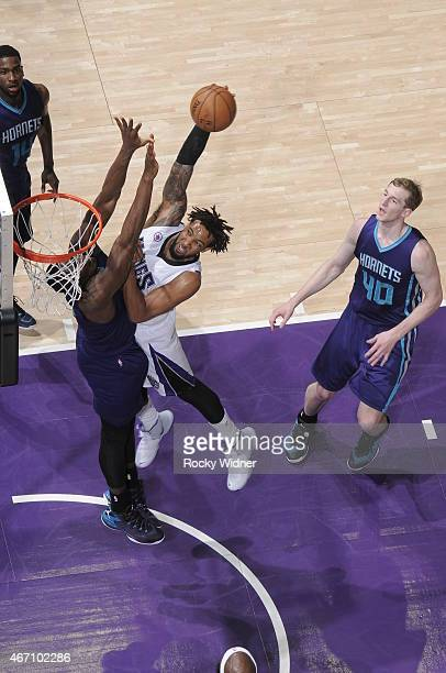 Derrick Williams of the Sacramento Kings dunks the ball against the Charlotte Hornets at Sleep Train Arena on March 20 2015 in Sacramento California...