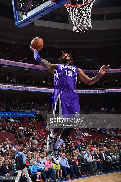 Derrick Williams of the Sacramento Kings goes up for the dunk against the Philadelphia 76ers at Wells Fargo Center on March 13 2015 in Philadelphia...
