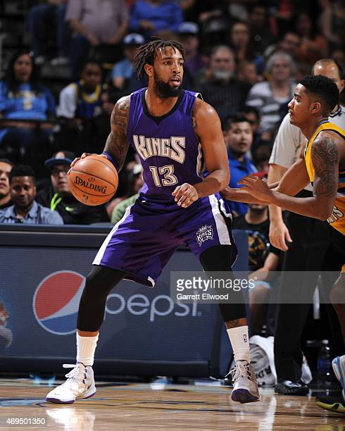 Derrick Williams of the Sacramento Kings handles the ball against the Denver Nuggets on April 12 2015 at the Pepsi Center in Denver Colorado NOTE TO...