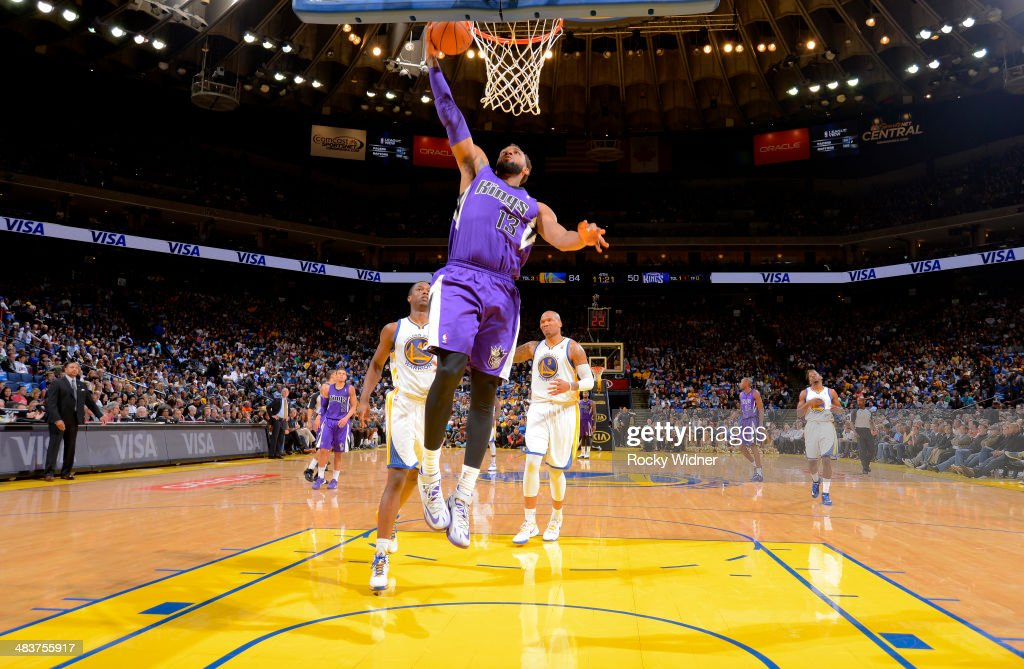 Derrick Williams #13 of the Sacramento Kings shoots a layup against the Golden State Warriors on April 4, 2014 at Oracle Arena in Oakland, California.