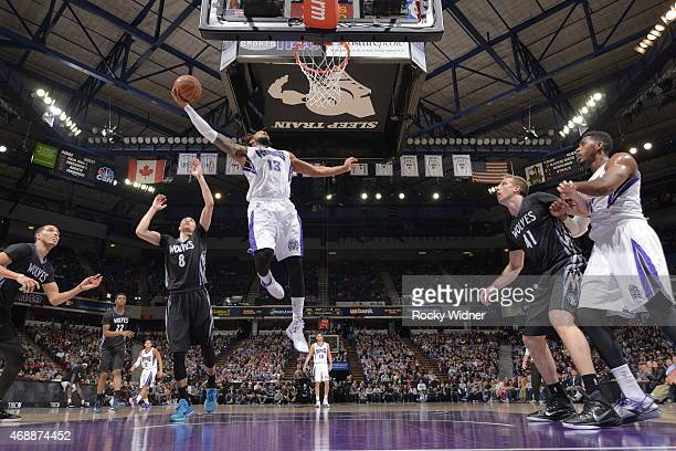 Derrick Williams of the Sacramento Kings shoots the ball against the Minnesota Timberwolves at Sleep Train Arena on April 7 2015 in Sacramento...
