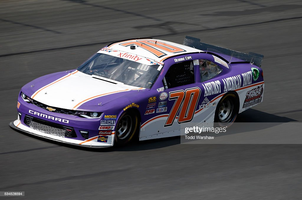 <a gi-track='captionPersonalityLinkClicked' href=/galleries/search?phrase=Derrike+Cope&family=editorial&specificpeople=540431 ng-click='$event.stopPropagation()'>Derrike Cope</a>, driver of the #70 Ashurst American Honey/CrclTrckWrhs Chev, drives during practice for the NASCAR XFINITY Series Hisense 4K TV 300 at Charlotte Motor Speedway on May 27, 2016 in Charlotte, North Carolina.