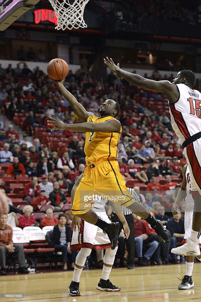 Derrious Gilmore #1 of the Wyoming Cowboys puts up a shot against the UNLV Rebels at the Thomas & Mack Center January 24, 2013 in Las Vegas, Nevada. The Rebels won 62-50.