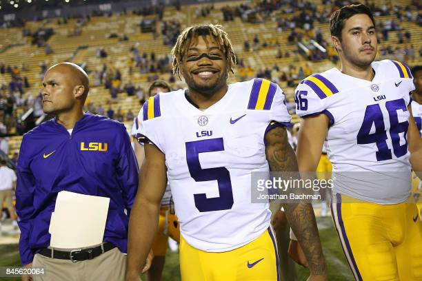 Derrius Guice of the LSU Tigers celebrates after a game against the Chattanooga Mocs at Tiger Stadium on September 9 2017 in Baton Rouge Louisiana