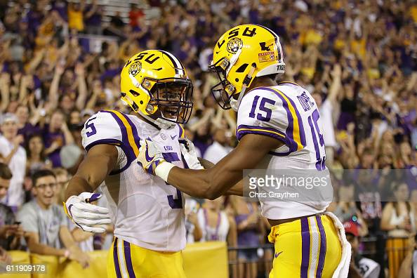 Derrius Guice of the LSU Tigers reacts after scoring a touchdown against the Missouri Tigers at Tiger Stadium on October 1 2016 in Baton Rouge...