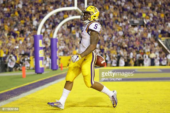 Derrius Guice of the LSU Tigers scores a touchdown against the Missouri Tigers at Tiger Stadium on October 1 2016 in Baton Rouge Louisiana