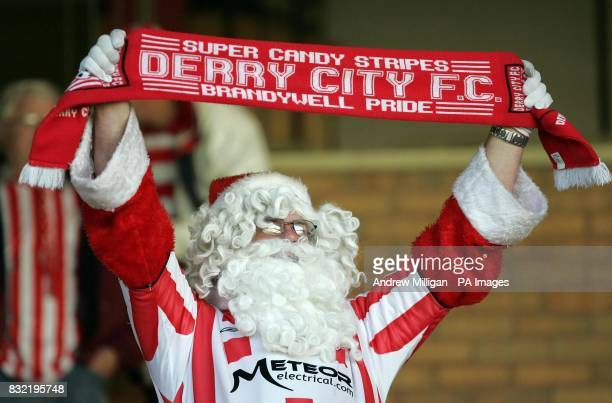A Derry City fan during the UEFA Cup second qualifying round first leg match against Gretna at Fir Park Motherwell