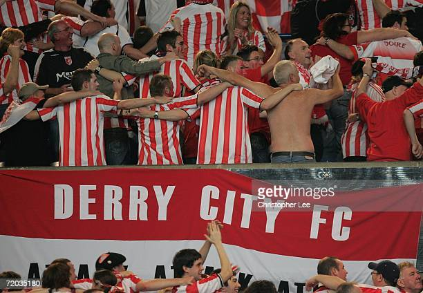 Derry City fans dance during the UEFA Cup first round second leg match between Paris St Germain and Derry City at the Parc des Princes on September...