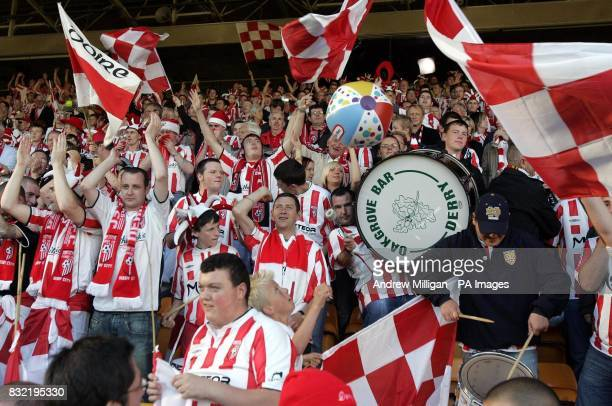Derry City fans during the UEFA Cup second qualifying round first leg match against Gretna at Fir Park Motherwell