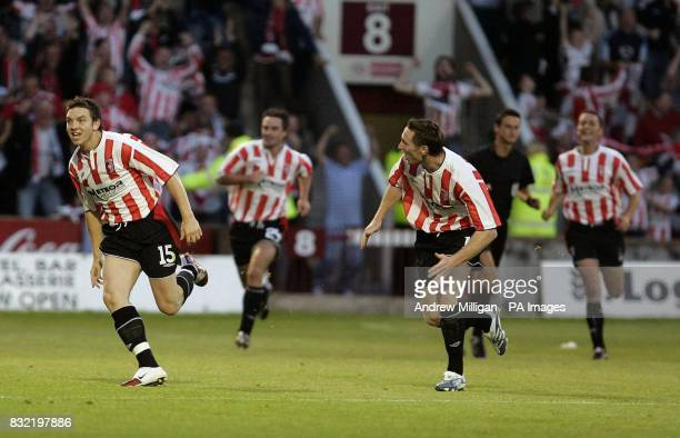 Derry City's Kevin Deery celebrates scoring his teams second goal during the UEFA Cup second qualifying round first leg match against Gretna at Fir...