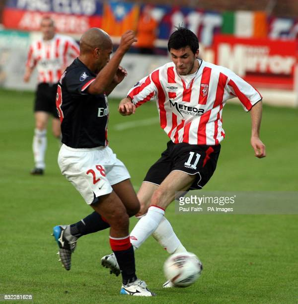 Derry City's Killian Brennan challenges Paris Saint Germain's Paula Cesar during the UEFA Cup first round first leg match at the Brandywell Stadium...