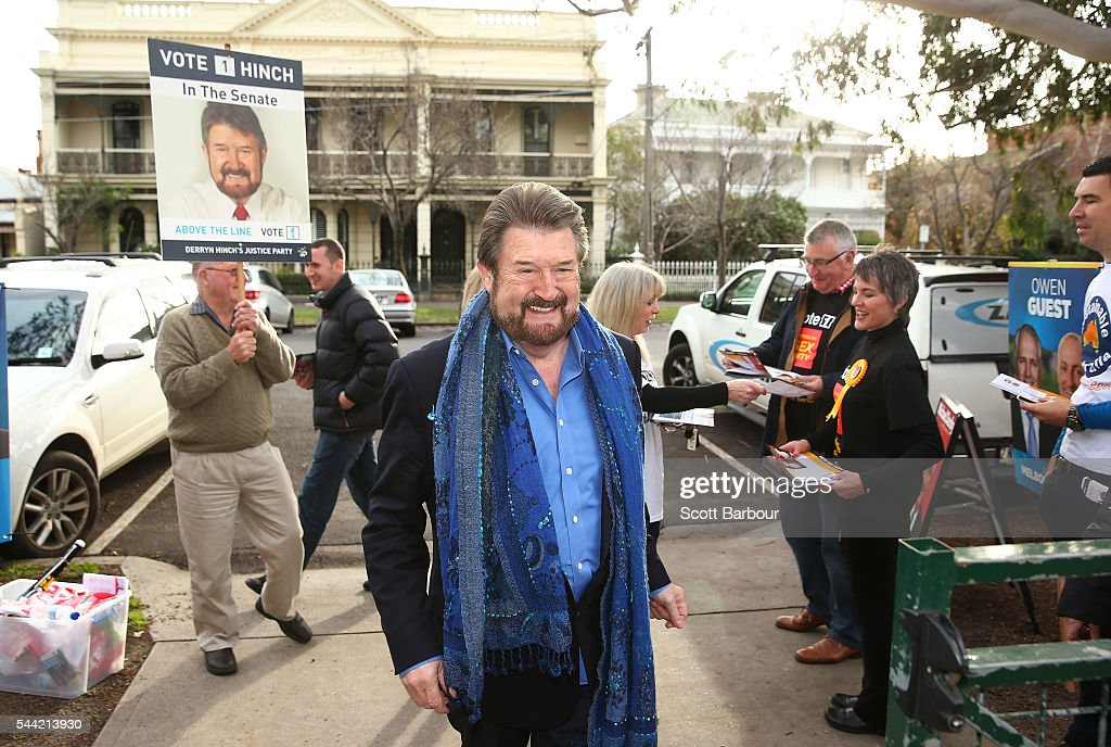 Derry Hinch, a candidate for the senate representing Victoria as the head of 'Derryn Hinch's Justice Party' arrives to vote in the national election at a polling station on July 2, 2016 in Melbourne, Australia. Voters head to the polls today to elect the 45th parliament of Australia.