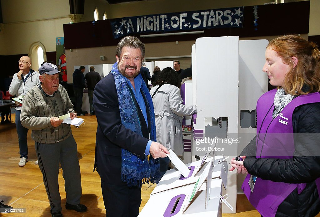 Derry Hinch, a candidate for the senate representing Victoria as the head of 'Derryn Hinch's Justice Party' votes in the national election at a polling station on July 2, 2016 in Melbourne, Australia. Voters head to the polls today to elect the 45th parliament of Australia.