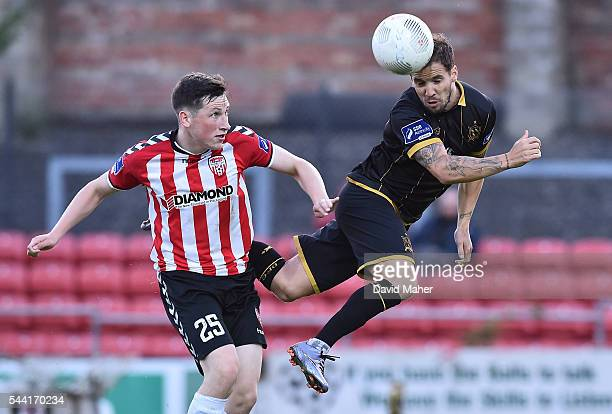 Derry Ireland 1 July 2016 Darren Meenan of Dundalk in action against Conor McDermott of Derry City during the SSE Airtricity League Premier Division...
