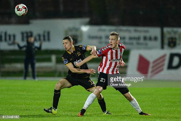 Derry Ireland 4 October 2016 Shane Grimes of Dundalk in action against Ronan Curtis of Derry City during the Irish Daily Mail FAI Cup SemiFinal match...
