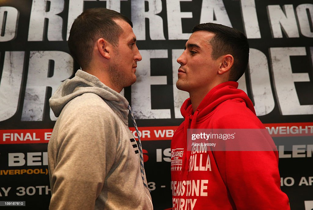 Derry Matthews goes face to face with Anthony Crolla during a press conference at the Hilton Hotel on January 9, 2013 in Liverpool, England. Derry Matthews is due to fight Anthony Crolla at Betfairs's 'No Retreat, No Surrender' event on March 30, 2012 at the Echo Arena, Liverpool.