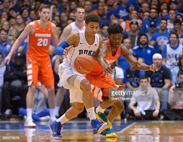 Derryck Thornton of the Duke Blue Devils battles Franklin Howard of the Syracuse Orange for a loose ball during their game at Cameron Indoor Stadium...