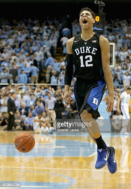 Derryck Thornton of the Duke Blue Devils reacts after defeating the North Carolina Tar Heels 7473 during their game at Dean Smith Center on February...