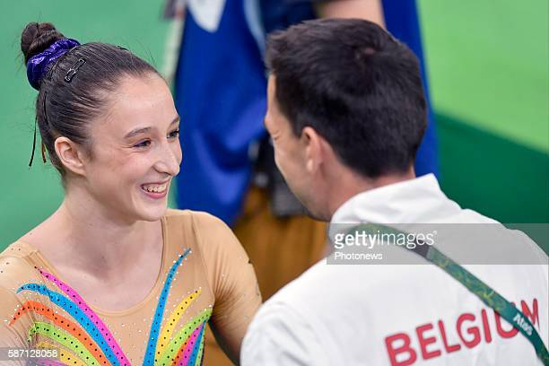 Derwael Nina smiles after competing in the Artistic Gymnastics Women's Team qualification during the Rio 2016 Summer Olympic Games on August 07 2016...