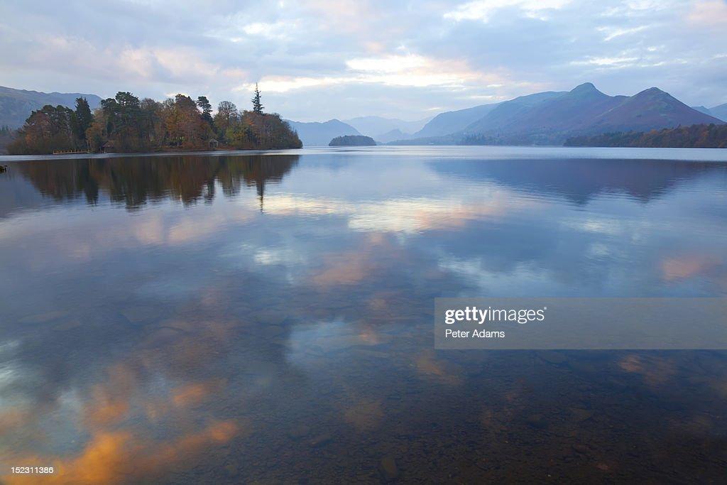 Derwent Water, Sunrise, Lake District, England : Stock Photo