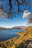 A view of Derwentwater from Surprise View, Cumbria, Lake District, England.
