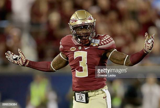 Derwin James of the Florida State Seminoles reacts after a play against the Mississippi Rebels during the Camping World Kickoff at Camping World...