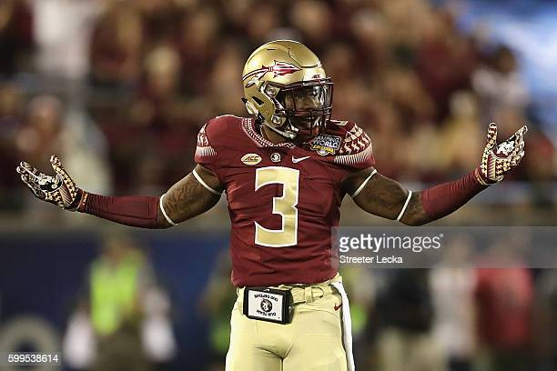 Derwin James of the Florida State Seminoles reacts in the first half against the Mississippi Rebels during the Camping World Kickoff at Camping World...