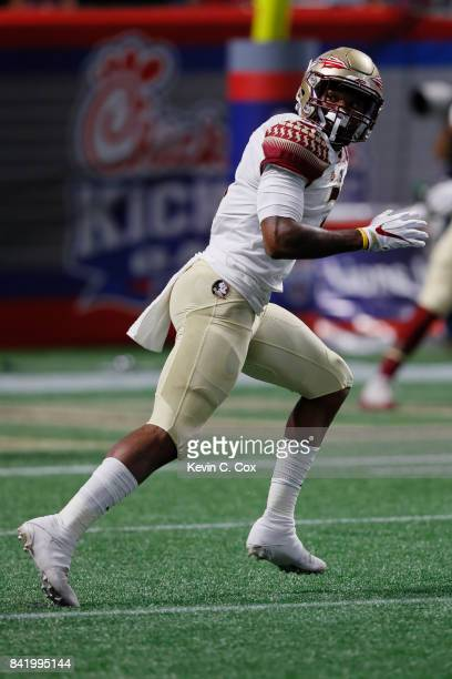 Derwin James of the Florida State Seminoles warms up prior to their game against the Alabama Crimson Tide at MercedesBenz Stadium on September 2 2017...