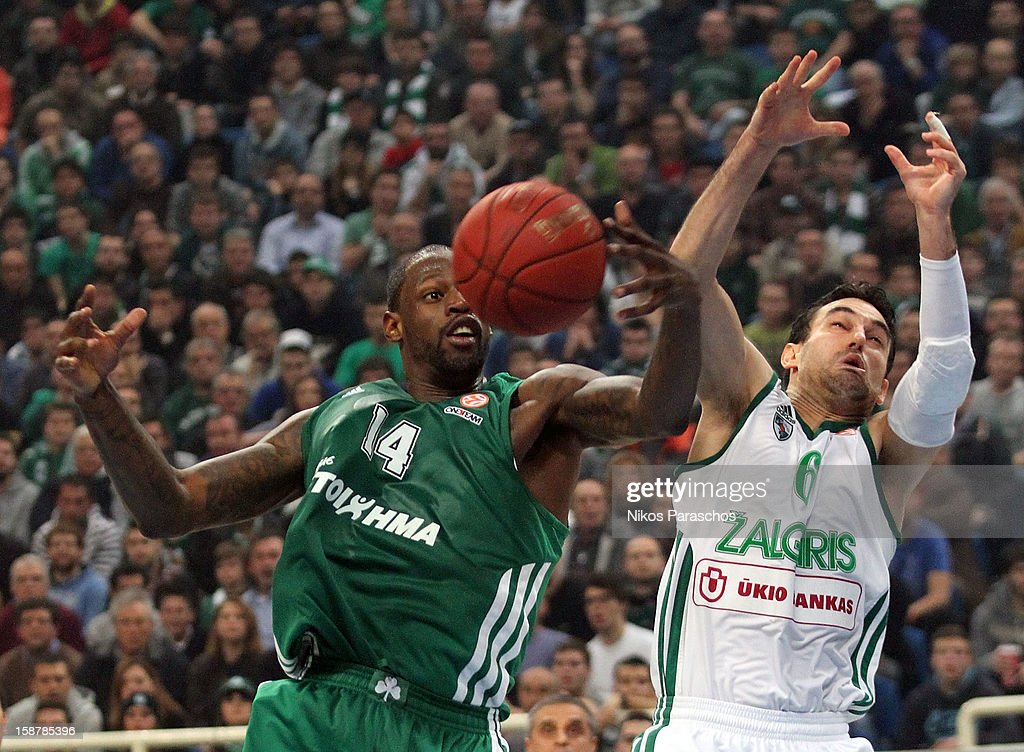 Derwin Kitchen, #14 of Panathinaikos Athens competes with Marko Popovic, #6 of Zalgiris Kaunas during the 2012-2013 Turkish Airlines Euroleague Top 16 Date 1 between Panathinaikos Athens v Zalgiris Kaunas at OAKA on December 28, 2012 in Athens, Greece.