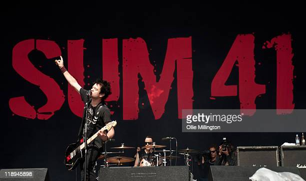 Deryck Whibley and Steve Jocz of Sum 41 perform onstage at Sonisphere Festival at Knebworth House on July 9 2011 in Stevenage England