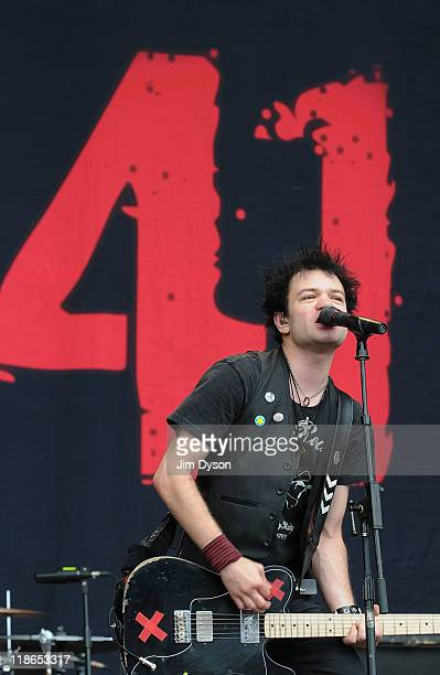 Deryck Whibley of Sum 41 performs live on stage during the second day of the Sonisphere Rock Festival at Knebworth House on July 9 2011 in Stevenage...