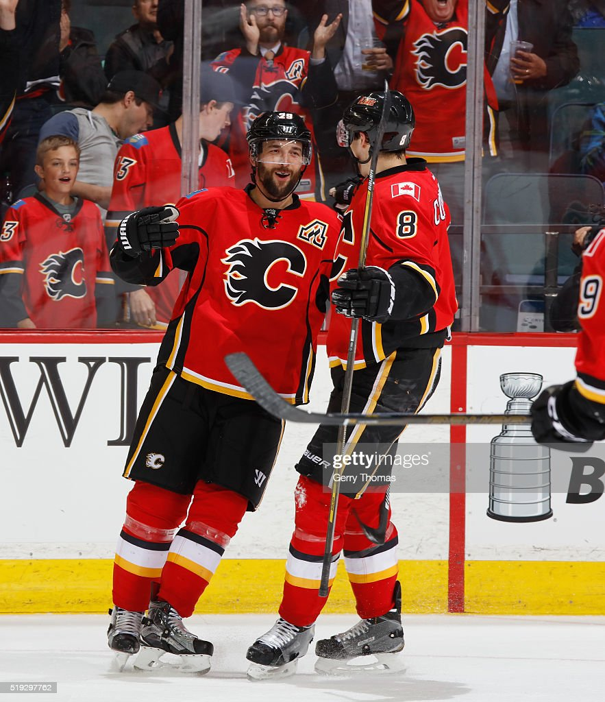 Deryk Engelland #29 of the Calgary Flames celebrates after a goal against the Los Angeles King at Scotiabank Saddledome on April 5, 2016 in Calgary, Alberta, Canada.