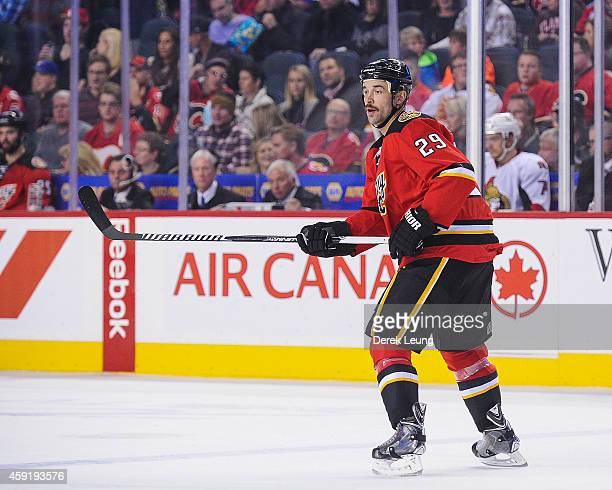 Deryk Engelland of the Calgary Flames in action against the Ottawa Senators during an NHL game at Scotiabank Saddledome on November 15 2014 in...