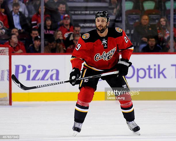 Deryk Engelland of the Calgary Flames in action against the Tampa Bay Lightning during an NHL game at Scotiabank Saddledome on October 21 2014 in...