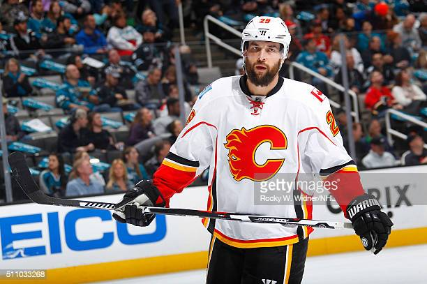 Deryk Engelland of the Calgary Flames looks on during the game against the San Jose Sharks at SAP Center on February 11 2016 in San Jose California