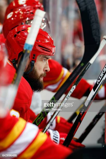 Deryk Engelland of the Calgary Flames plays against the Arizona Coyotes during an NHL game on December 31 2016 at the Scotiabank Saddledome in...