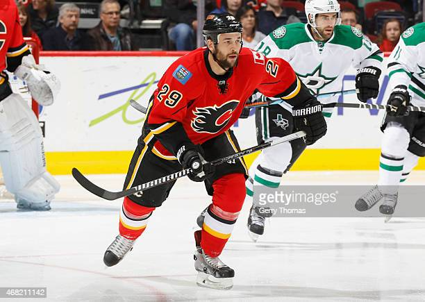 Deryk Engelland of the Calgary Flames skates against the Dallas Stars at Scotiabank Saddledome on March 25 2015 in Calgary Alberta Canada