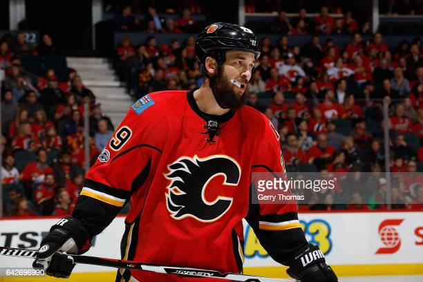 Deryk Engelland of the Calgary Flames skates against the Florida Panthers during an NHL game on January 17 2017 at the Scotiabank Saddledome in...