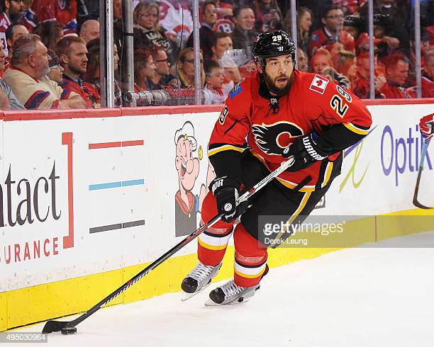 Deryk Engelland of the Calgary Flames skates against the Montreal Canadiens during an NHL game at Scotiabank Saddledome on October 30 2015 in Calgary...